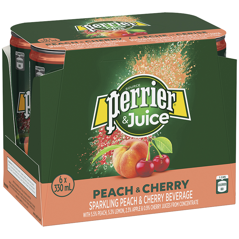 Perrier & Juice Sparkling Beverage - Peach & Cherry - 6x330ml