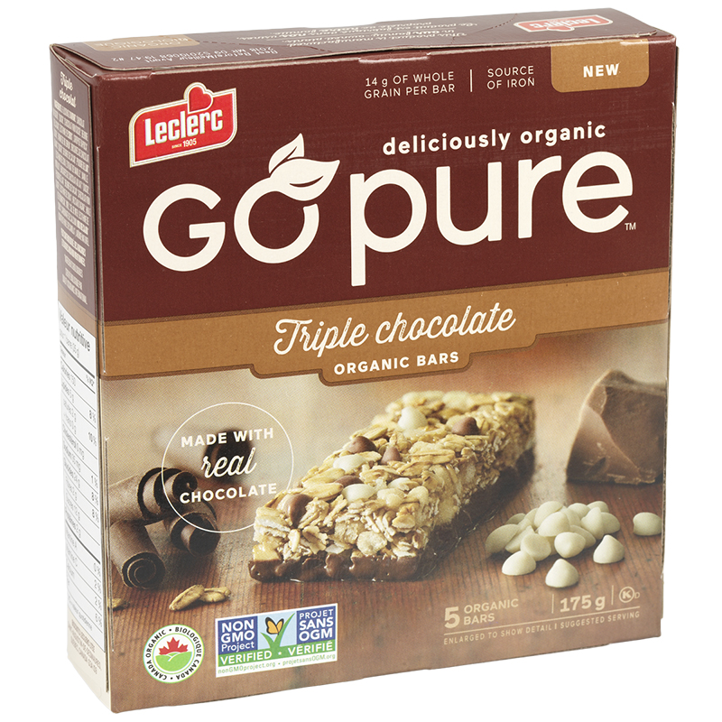 Leclerc Go Pure Organic Bars - Triple Chocolate - 5 Pack