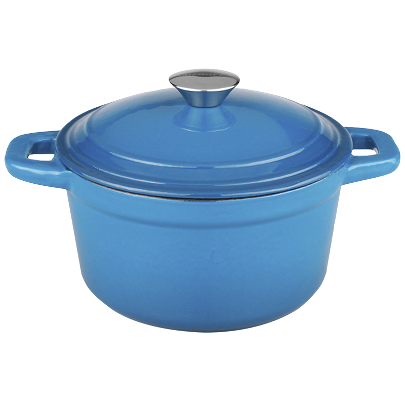 Neo Cast Iron Round Covered Casserole - Blue - 5qt
