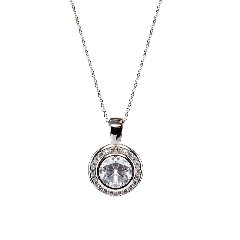 Charisma Sterling Silver Halo Pendant Necklace