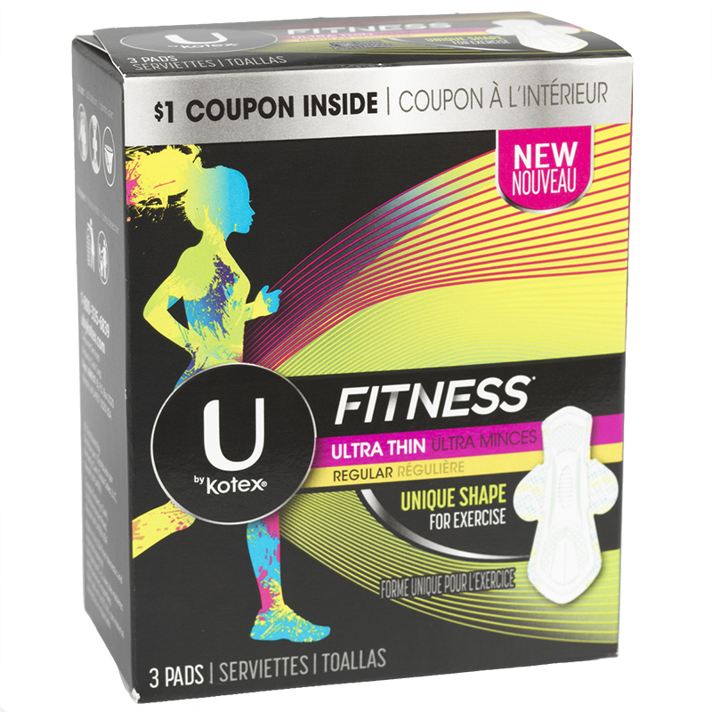 U By Kotex Fitness Ultra Thin Pads - Regular - 3's