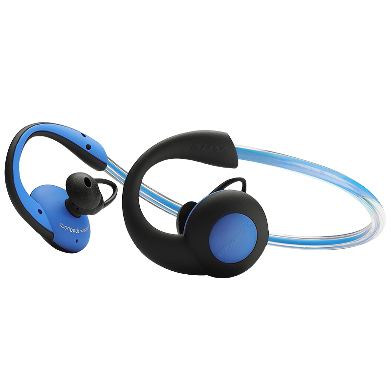 Boompods Sportpod Visions Bluetooth Headphones with LED Light - Blue - BPSPVBLU