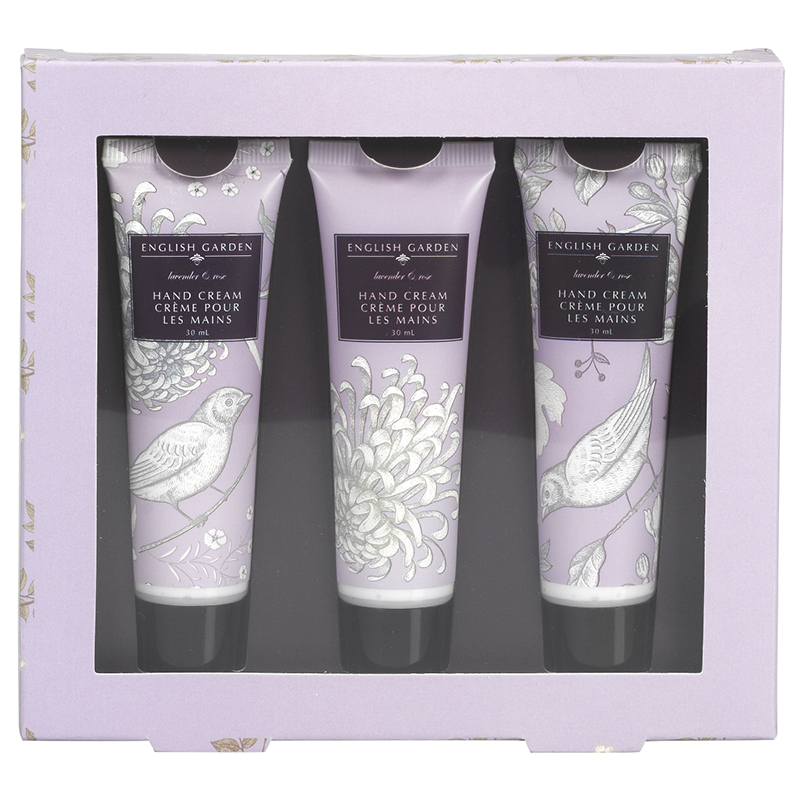 English Garden Hand Cream Set - Lavender & Rose - 3 x 30ml