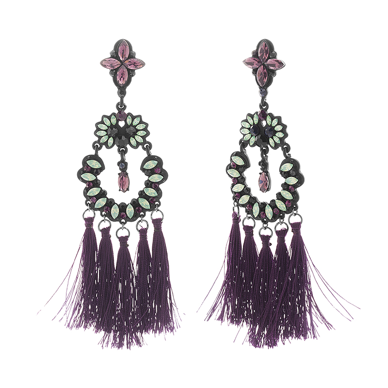 Steve Madden Casted Tassel Earrings - Purple