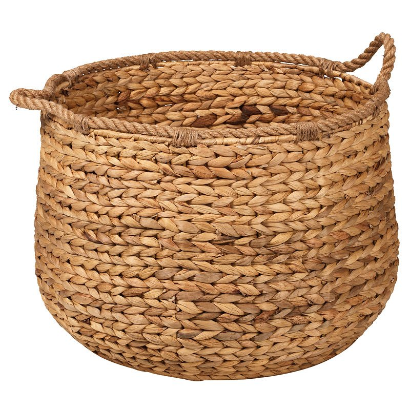 London Drugs Water Hyacinth Basket with Jute Handles and Rim