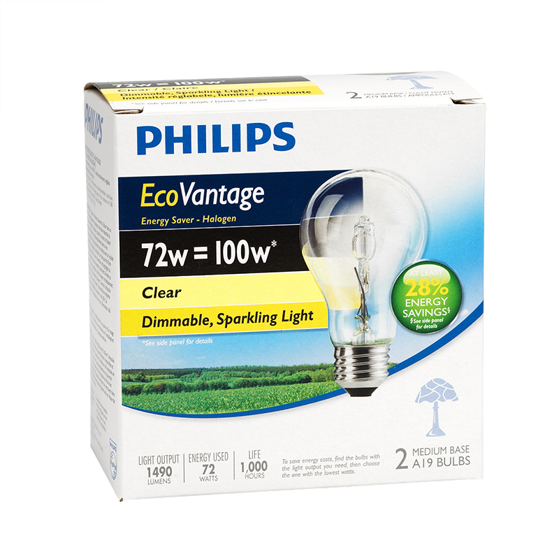 Philips EcoVantage A19 100W - Clear - 2 pack