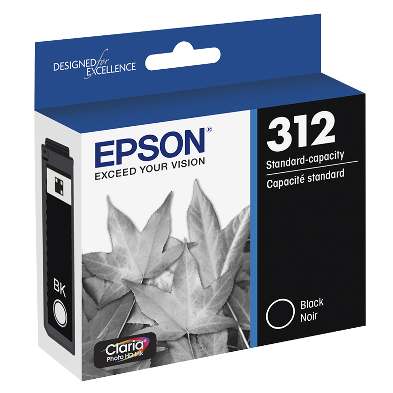 Epson T312 Claria HD Photo Printer Ink Cartridge - Black - T312120-S