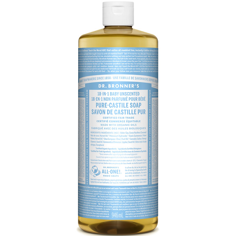 Dr. Bronner's 18-IN-1 Pure-Castile Liquid Soap - Baby Unscented - 964ml