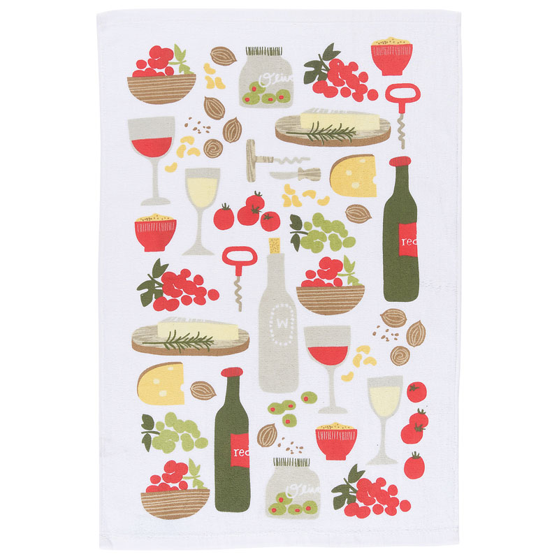 Kitchen Style Terry Teatowel - Wine