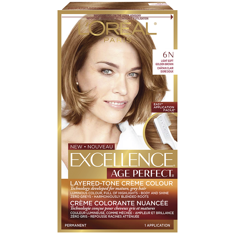L'Oreal Excellence Age Perfect Creme Colour - 6N Light Soft Golden Brown