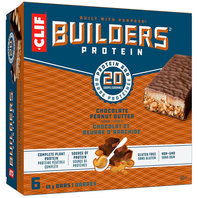 clif builders bar chocolate peanut butter 6 x 68 g