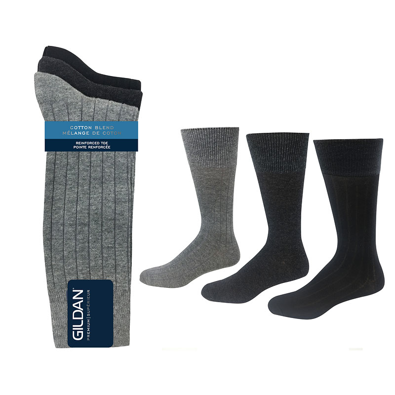 Guildan Flat Rib Men's Crew Socks - Grey