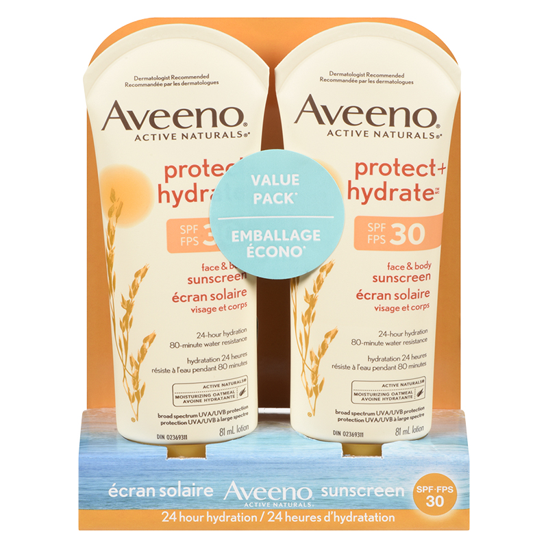 Aveeno Active Naturals Protect & Hydrate Face & Body Sunscreen - SPF 30 - 2 x 81ml