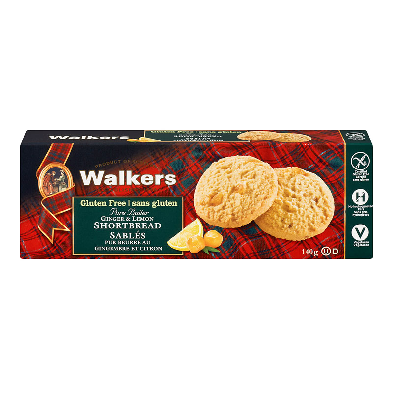 Walkers Gluten Free Ginger & Lemon Shortbread - 140g