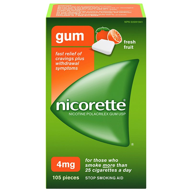 Nicorette Nicotine Gum Stop Smoking Aid - Fresh Fruit - 4mg - 105's