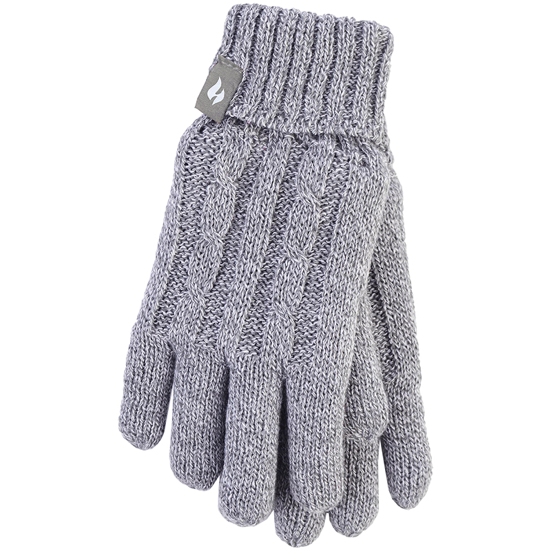 Heat Holders Ladies Knit Gloves - Grey - Large