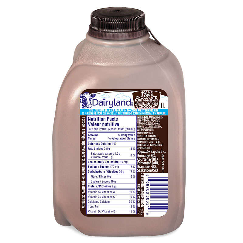 Dairyland Chocolate Milk - Reduced Sugar - 1L