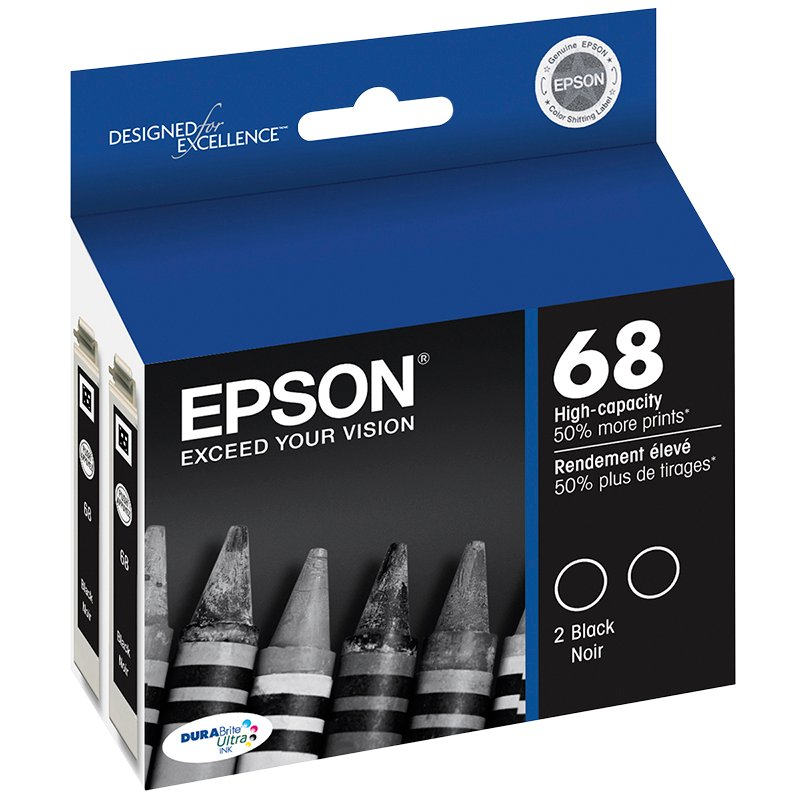 Epson 68 Durabrite Ink Cartridge Hi Capacity Dual Pack - Black - T068120-D2