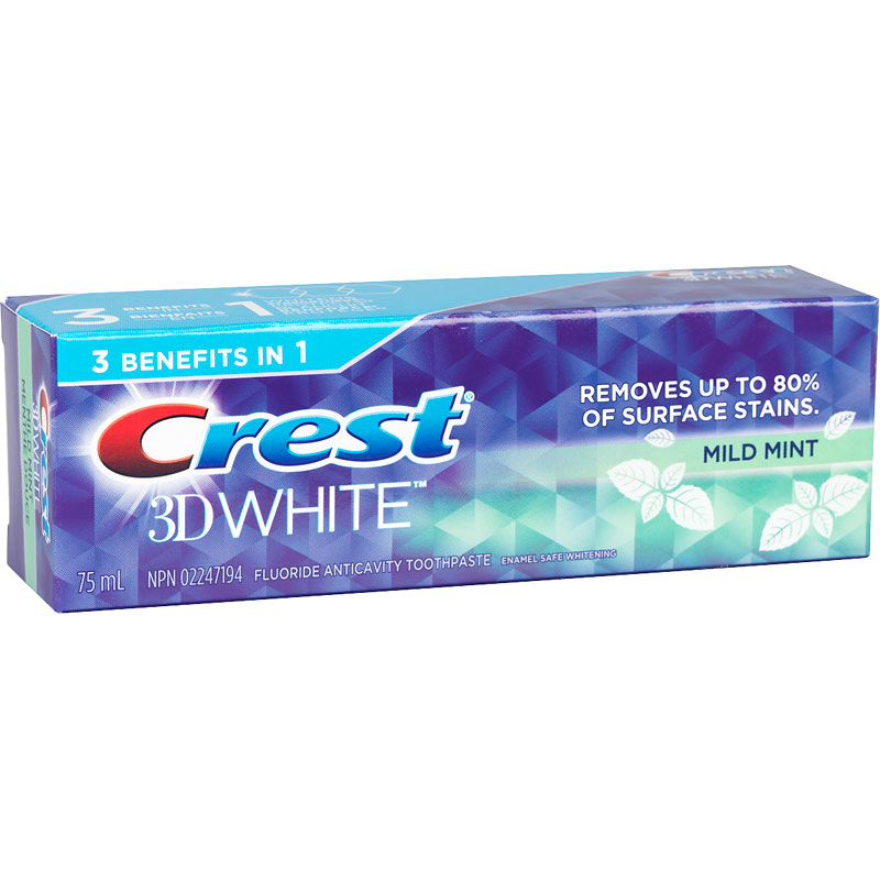 Crest 3D White Toothpaste - Mild Mint - 75ml