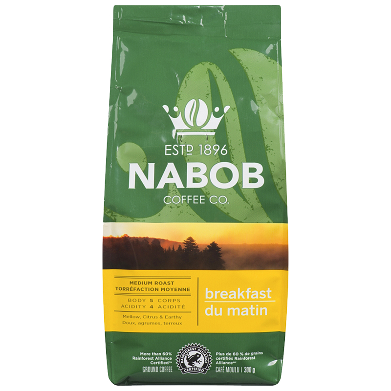 Nabob Breakfast Blend Coffee - Medium Roast - Ground - 300g