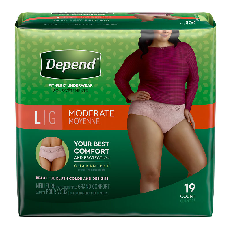Depend Underwear for Women - Moderate Absorbency - Large - 19's