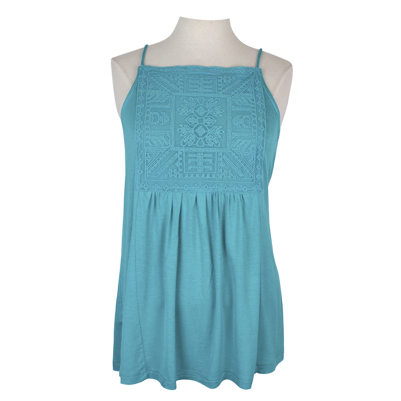Lava Lace Trim Front Knit Cami - Teal - Small
