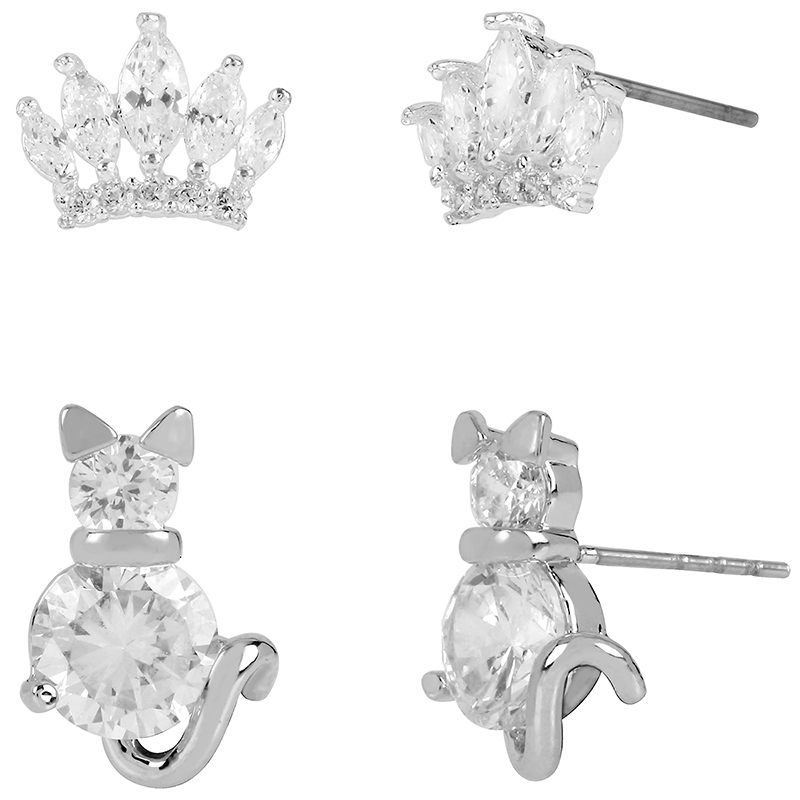 Betsey Johnson Cubic Zirconia Cat Duo Earrings - Crystal