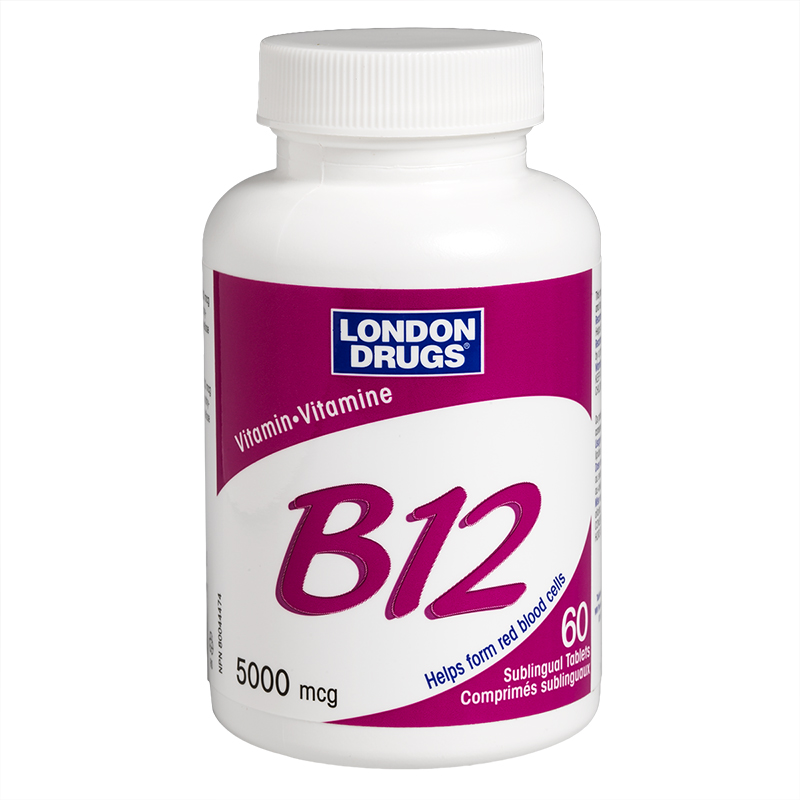 London Drugs Vitamin B12 Sublingual Maximum Strength - Cherry - 5000mcg - 60's