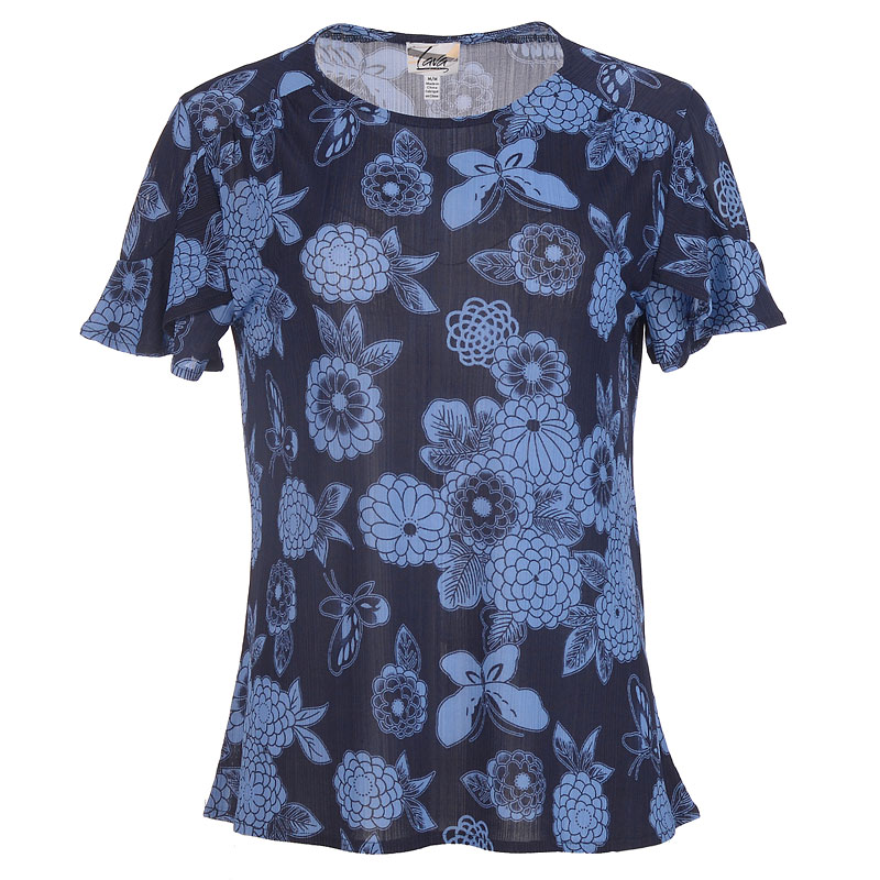 Lava Ruffle Sleeve Floral Top - Blue