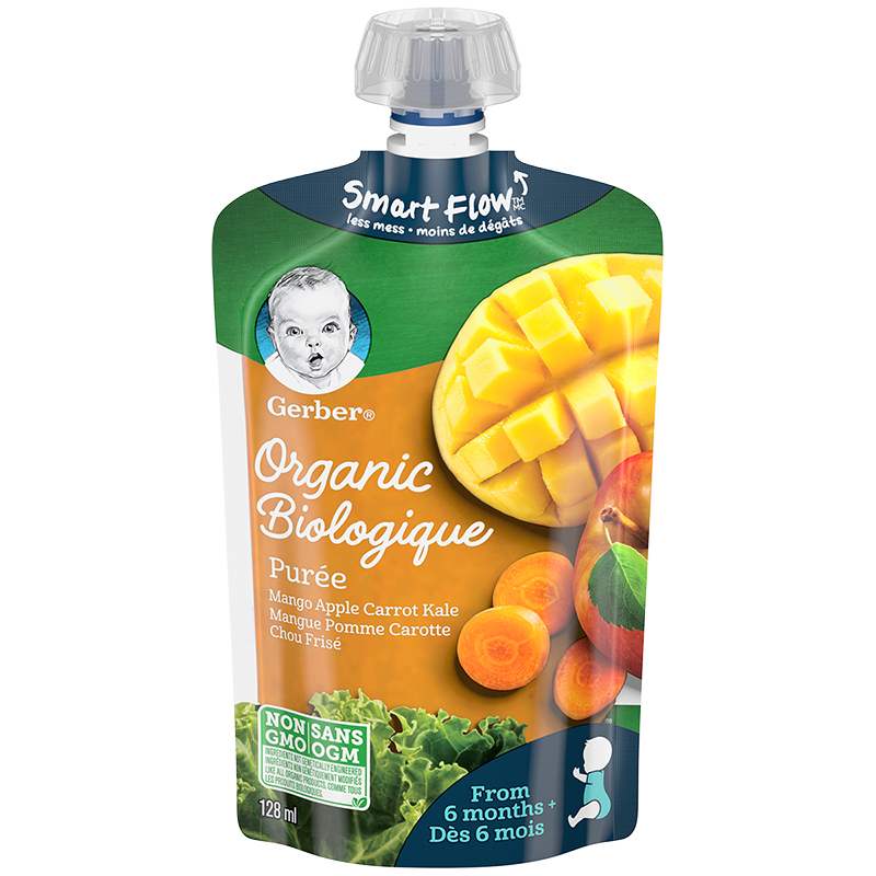 Gerber Organic Puree - Mango/Apple/Carrot/Kale - 128ml