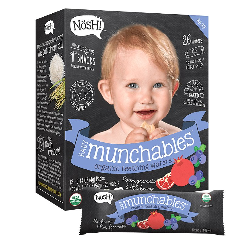 Nosh Baby Munchables - Pomegranate + Blueberry - 54g/26 Wafers