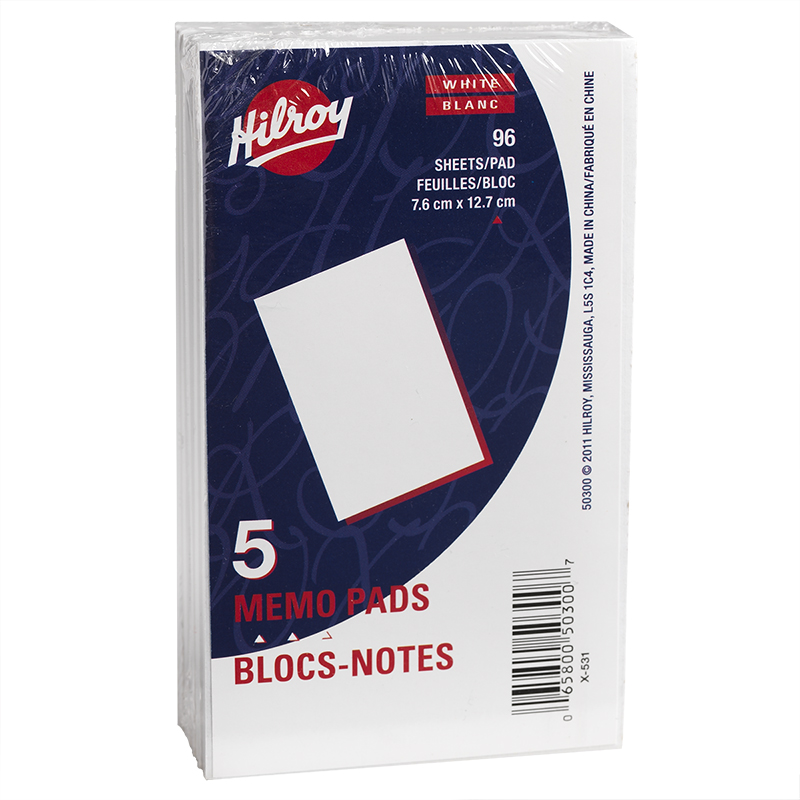 Hilroy Memo Pads 7.6 x 12.7 cm - 5 Pack