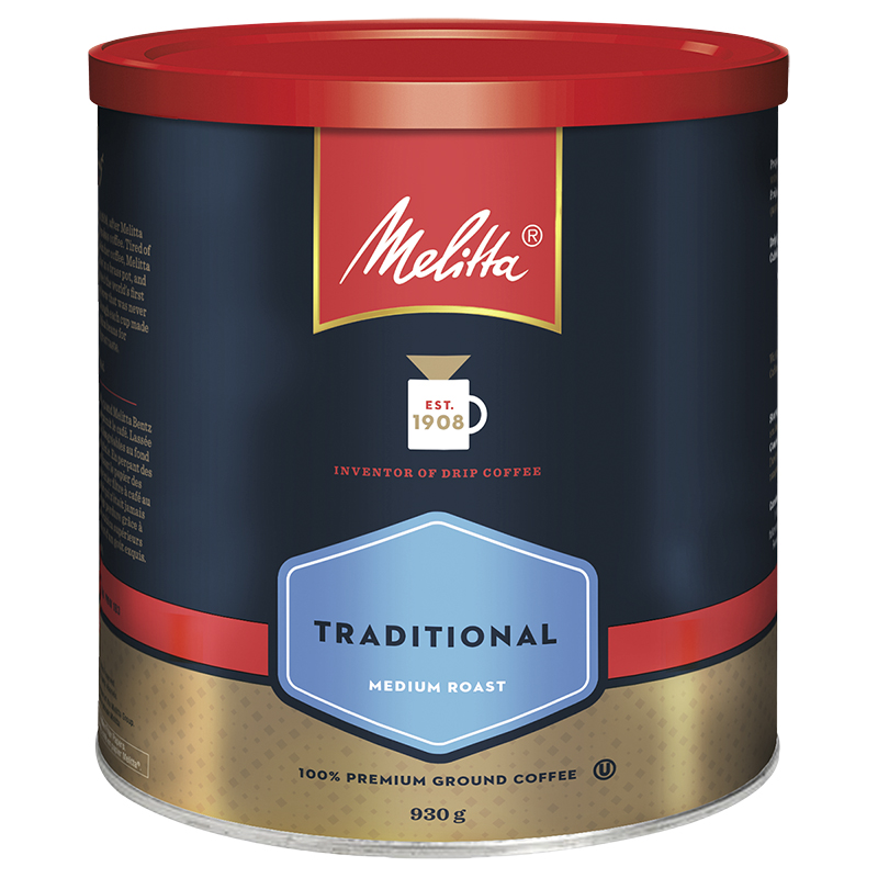 Melitta Premium Traditional Coffee - Medium Roast - Ground - 930g