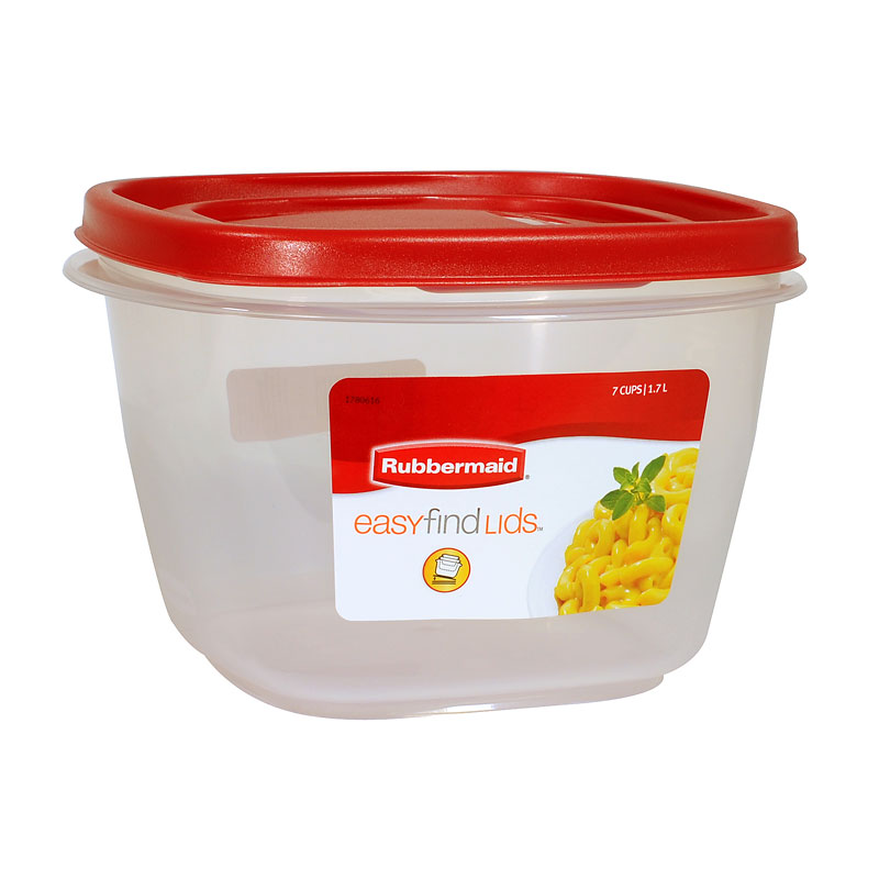 Rubbermaid Easy Find Lid Square Food Container - Chili Red - 1.7L