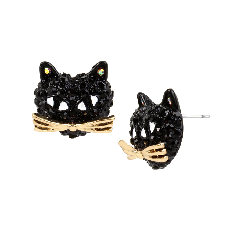 Betsey Johnson Pave Cat Stud Earrings - Black