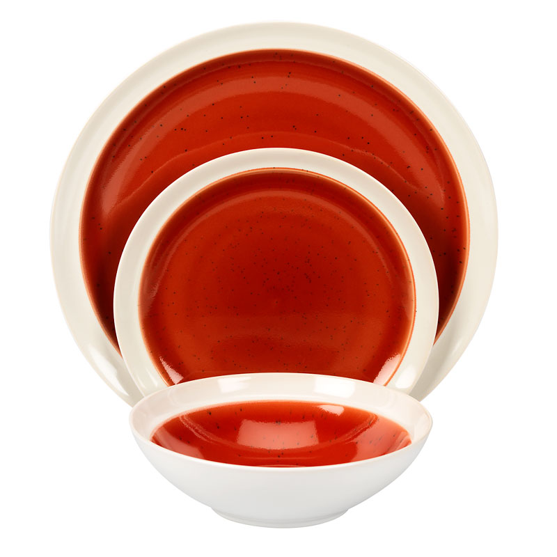 Gibson Clementine Stoneware Dinnerware Set - Red - 12 piece