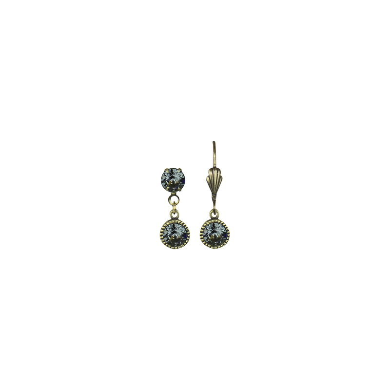 Anne Koplik Drop Beze Brass Earrings - Silver Night