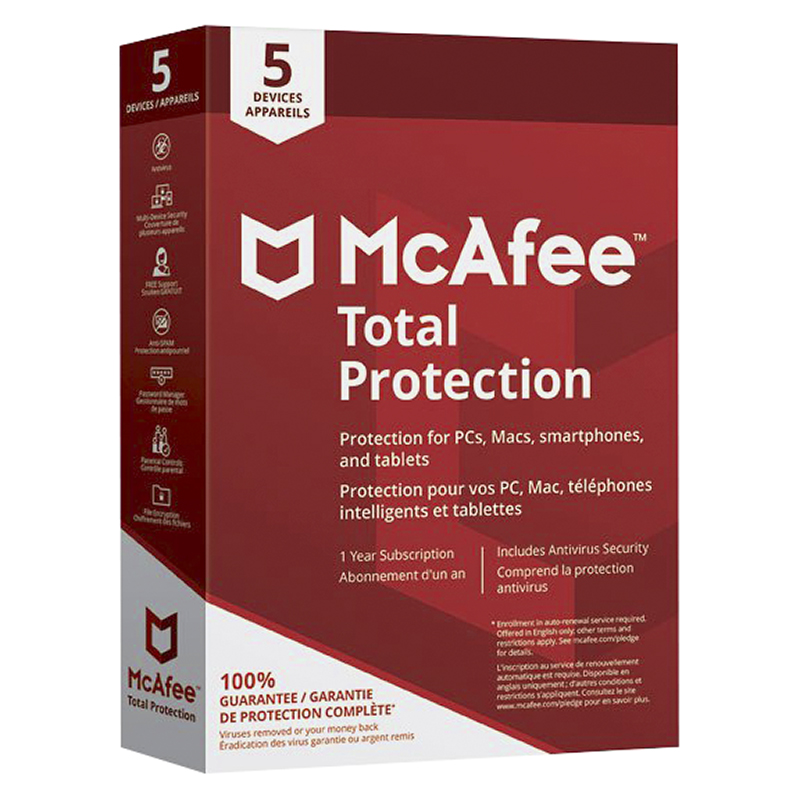 McAfee Total Protection - Five Devices - One Year