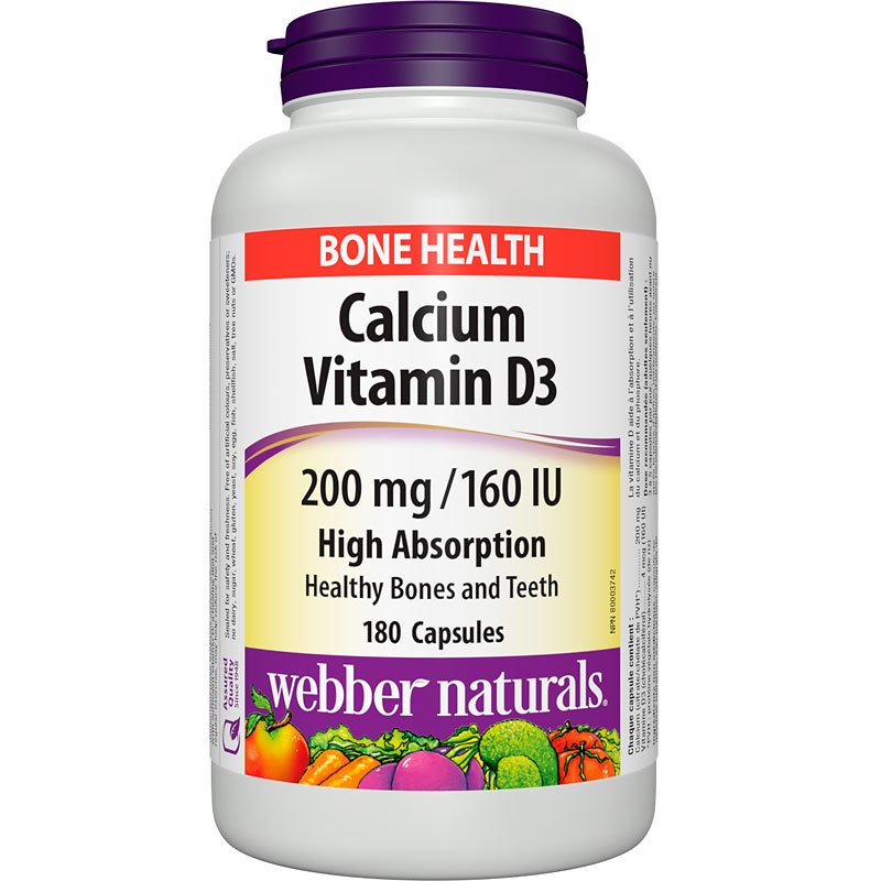 Webber Naturals Calcium and Vitamin D - 200mg/160IU - 180's