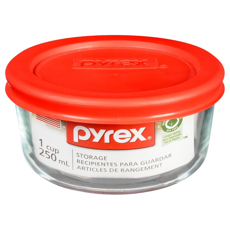 Pyrex Round Storage with Red Lid - 1 cup