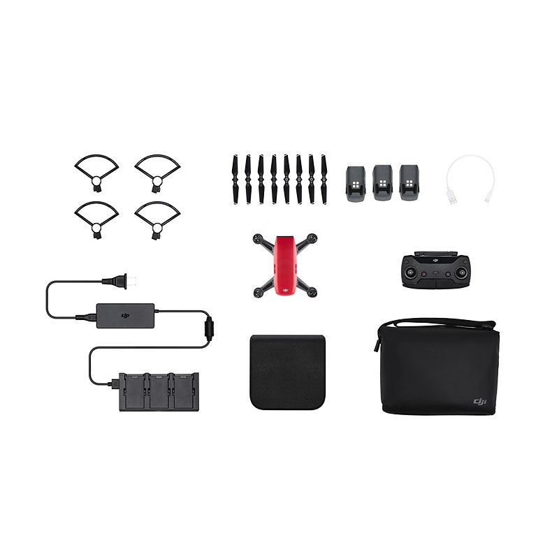 DJI Spark Fly More Combo and Battery Bundle - Red - PKG #25562