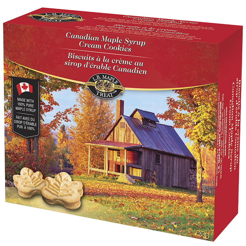 L B Canadian Maple Syrup Cream Cookies 400g