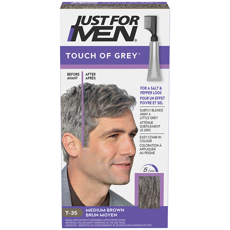 Just for Men Touch of Grey Hair Colouring - Medium Brown Grey