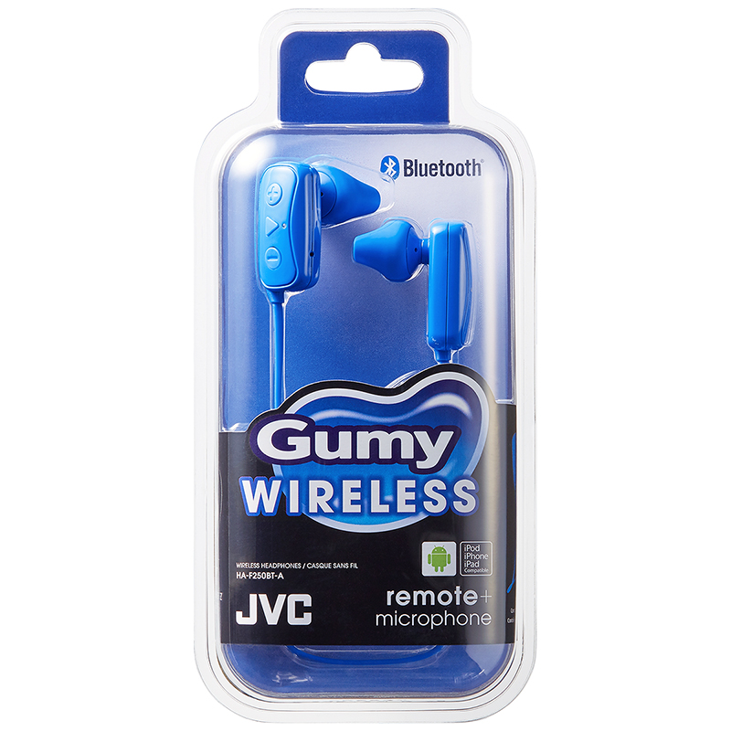 JVC Gumy Wireless Bluetooth Earbuds - Blue - HAF250BTA