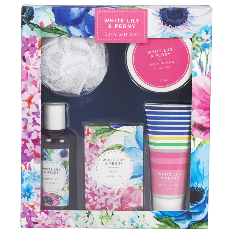 Floral Bath Gift Set - White Lily & Peony - 5 piece