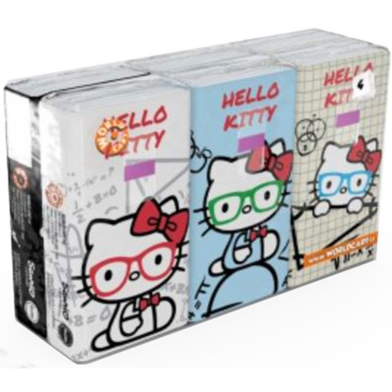 Hello Kitty Math Facial Tissue Pocket Pack - Assorted - 6 x 9's