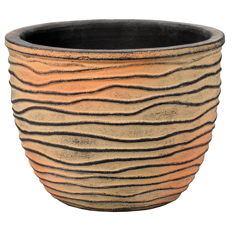 London Drugs Embossed Terracotta Indoor Pot - Rustic Black/Brown
