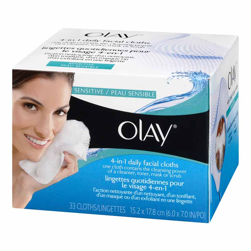 Olay 2-in-1 Daily Facial Cloths Refills for Sensitive Skin - 33's