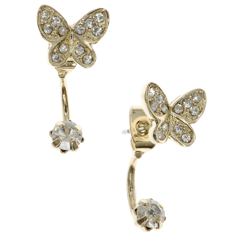 Lonna Lilly Butterfly Gauge Earrings - Gold