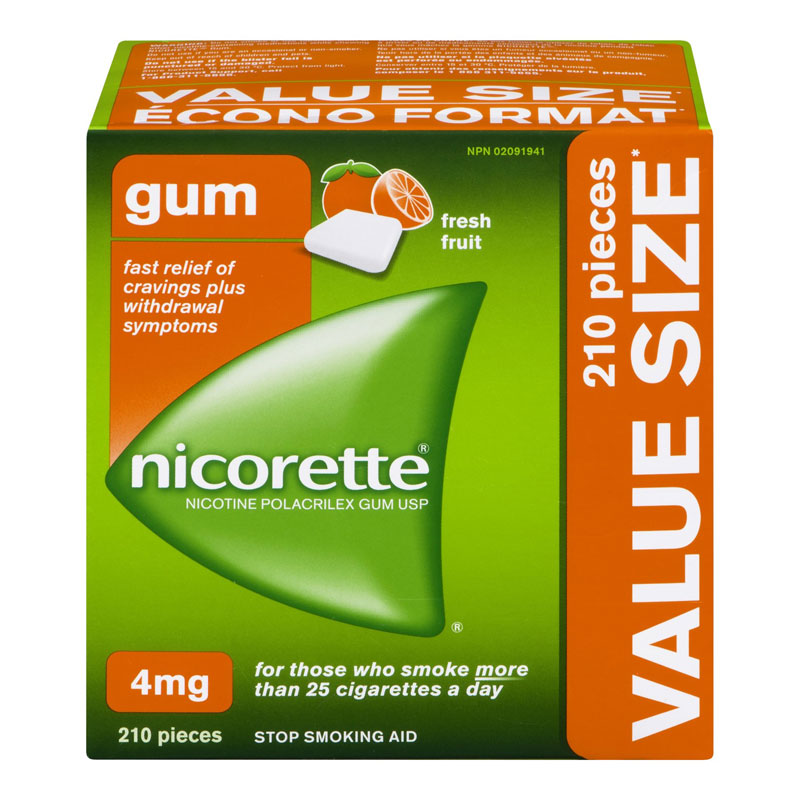 Nicorette Nicotine Gum Stop Smoking Aid - Fresh Fruit - 4mg - 210's